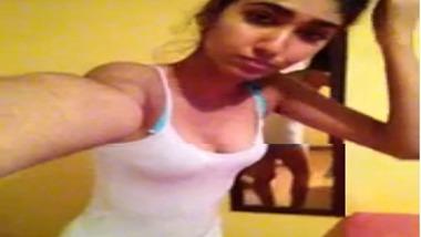 Mumbai College girl taking a selfie video of her hot body