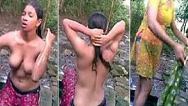 Indian village bhabhi MMS during outdoor bath