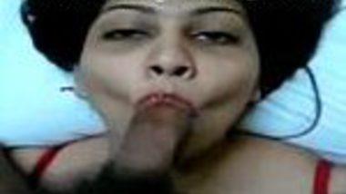 Red lingerie sexy Punjabi Indian wife deep throat blowjob