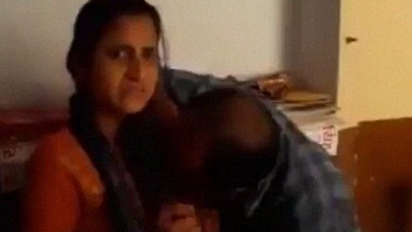 Indian teacher sucking students boobs in class