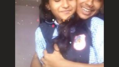 Cute couple making video 'pressing boobs
