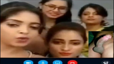Horny Indian Girls Watching Naked Guy's Penis On Skype