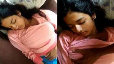Desi teen sleeps but guy carefully touches XXX titties through T-shirt