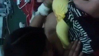 Lesbian Senior hostel girl licking nipple of junior