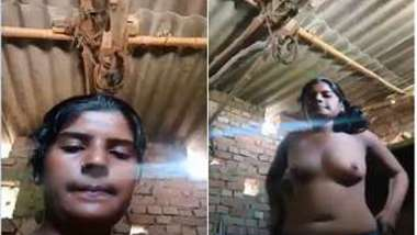 Pretty Indian girl takes clothes off and poses naked in front of cam