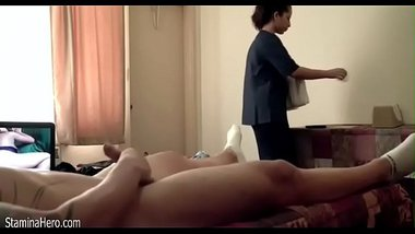 Sexy maid in the hotel doing a hot blowjob