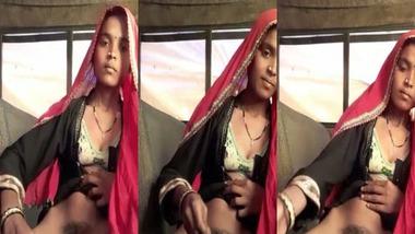 Sexy Desi Tribal girl masturbating pussy using brinjal