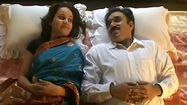 Mustached Indian man worships feet of girl in blue dress in XXX video
