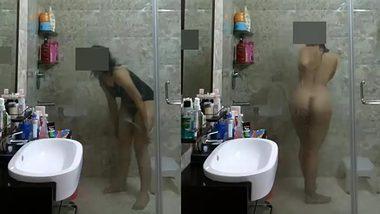 Appetizing busty indian wife taking a shower hidden cam XXX sex video