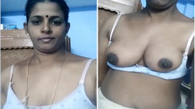 Desi diva with XXX tits exposed films special selfie video for her man
