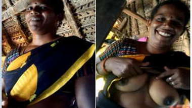 Joyful Desi woman sneakily shows lover her XXX breasts inside barn