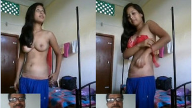 Agent during porn audition via video call coaxes Indian girl to undress
