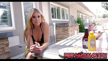 Milf giving pov blowjob to stepson outdoors in hd