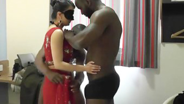 Indian wife has a XXX threesome with two black young men with big dicks