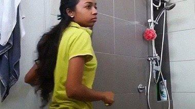 Cute Tamil girl stripping nude bathroom video