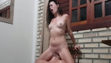 Petite Teen has Intense Orgasms while Using his Face like a Chair