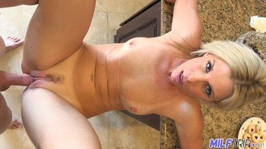 Sexy blonde stepmom welcomes me home with surprise fuck