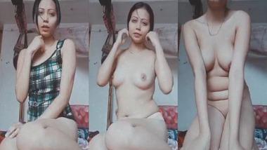 Cute Assamese girl striptease show for her lover