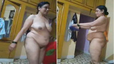 Cunning guy films fat Desi woman walking around room without XXX clothes