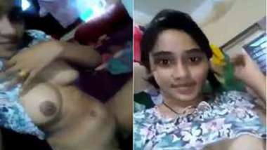 Amateur XXX video by the young possessor of nice Indian titties