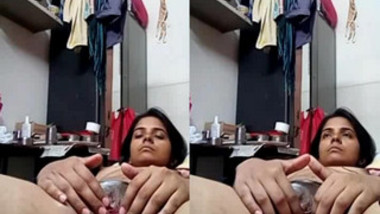 Slender Desi girl lies in the closet and gently touches XXX peach