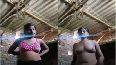 Amateur Indian slut comes to a barn and strips down on XXX camera
