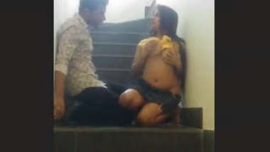 Indian Hot Desi Lover Romance At Stair