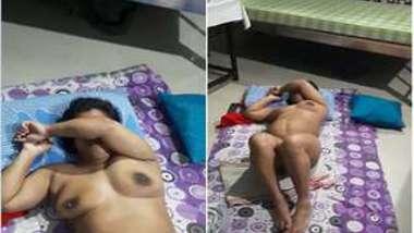 Indian wife sleeps on the floor but husband films her naked XXX flesh