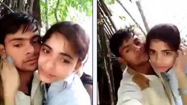 Nothing can stop Desi lovers from hugging and XXX kisses in nature