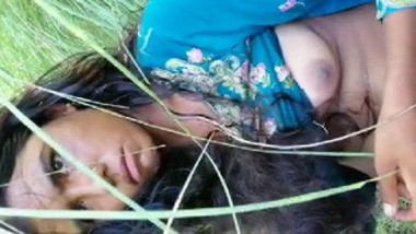 Cute village girl in fields