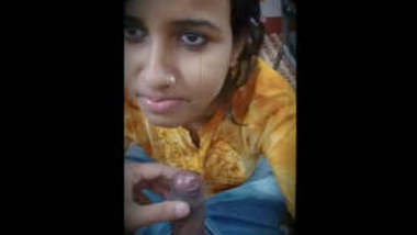 Indian prostitute giving blowjob to her customer