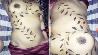 Topless Desi girl sleeps but boyfriend films her tattooed body