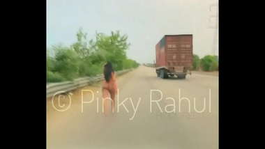 Pinky Naked dare on Indian Highways