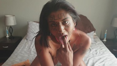 Desi trash whore with body writing humiliating herself   face and pussy slapping   spitting