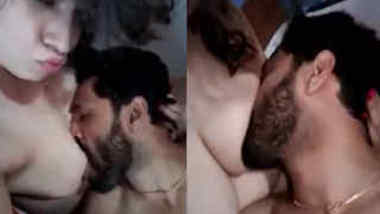 Bearded Desi lad can't stop worshipping sexy nipples of XXX lovely