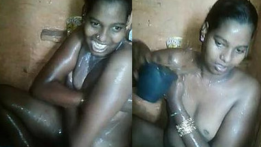 Joyful Indian woman washes body and takes part in unplanned porn action