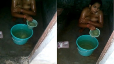 Man catches innocent Indian spouse washing nude XXX body in backyard