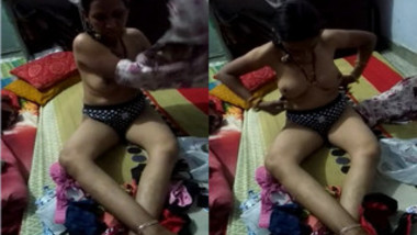 Shameless Desi woman changes clothes in front of hubby with camera