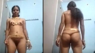 Telegu wife full nude show for her TikTok lover