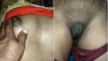 Before sex curious Desi guy takes closer look at GF's bald XXX pussy