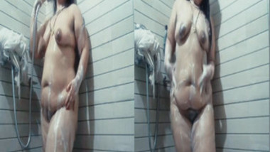 Chubby Indian MILF prepares for sex by washing XXX curves in shower