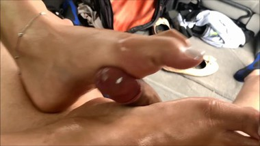 (PREVIEW) Public Indian footjob - sexy small mommy feet, big dick daddy