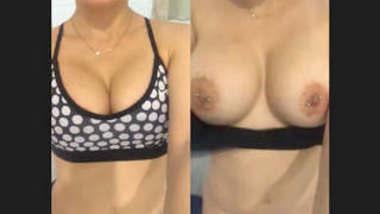 Hot NRI girl showing her boobs